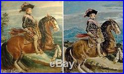 17th-18thC WATERCLR KING PHILIP IV aftr De SILVA Y VELASQUEZ BROUGHT 20 THOUSAND