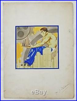 1930's Art Deco Mixed Media Illustration, Gears of the City, Attr. Rockwell Kent