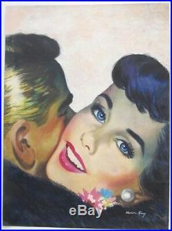 1950s WARREN KING Modernist Illustrator True Love Sexy N Y / Florida Mixed Media