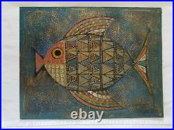 1961 Mid Century Modernist Mixed Media Fish Painting, Signed