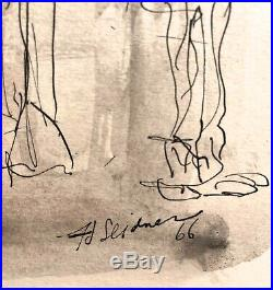 1966 H Seidner Abstract Modernist Figure Portrait Study Mixed Media Painting