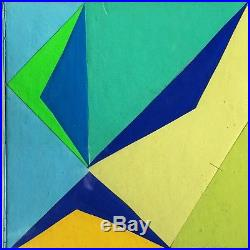 1970 Abstract Geometric Hard Edge Op Pop Art Mixed Media Collage Painting Rubin