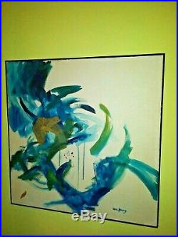 1970's Signed Framed Abstract Oil mixed Media Lois Young'Cockfight'71