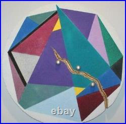 1980s Post Modern Art Deco Memphis Sottsass Era Mixed Media Wall Sculpture Art