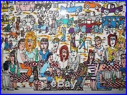 1987 James Rizzi Sidewalk Cafe 3-D Artwork Signed & Framed Excellent