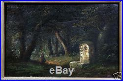 19th Century Continental School Oil Painting Woman, Fountain Dark Nature Trail