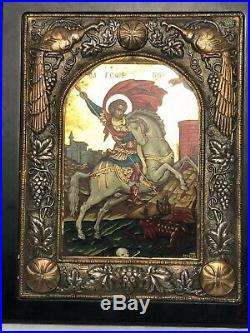 1 Byzantine Style Russian Icon Artwork Canvas Painting Coated 950 Russian Silver