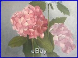 2 Vintage Original Paintings Hydrangea Flowers Oil Acrylic on Board Mixed Media