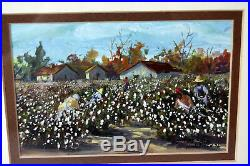 5 Mixed Media Watercolor Painting Signed Judy Hartsfield Cotton Field Harvest