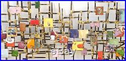 60's Brutalist Mixed Metal Enamel Nail Assemblage Art Wall Sculpture 38 x 18
