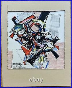 ALEXANDRE ISTRATI Original Signed Romanian French Mixed-Media Painting 1972