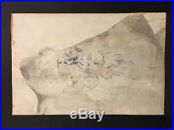 AVNI ARBAS 20th c. Turkish Modernist MIXED MEDIA PAINTING Abstract Portrait Man
