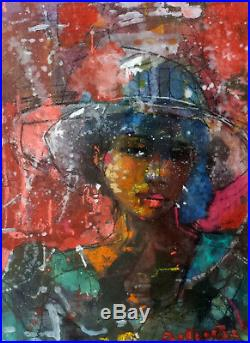 African American Abstract Art Mixed Media on Paper by Louis Delsarte