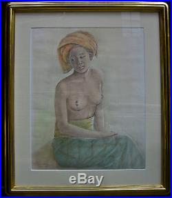Anak Gede Tiasa, Balinese Artist, Nude portrait, Mixed Media 1992 Bali