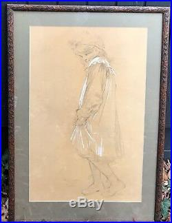 Andre Castaigne (Phantom of the Opera) signed framed original drawing 21x31 in