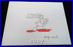 Andy Warhol Original Signed Ink & Watercolor Mixed Media Donald Duck