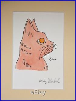 Andy Warhol Original Signed Ink & Watercolor Mixed Media Sam The Cat