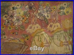 Antique American Folk Art Painting Easter Bunny Rabbits Eggs Media Masterpiece