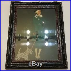 Antique Chanel Mixed Media Oil Painting Collage Designer Women And Dog Old Rare