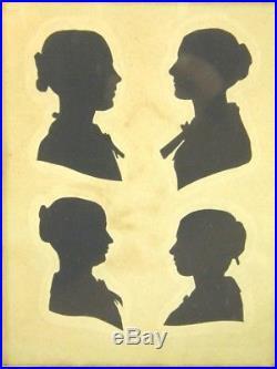 Antique cut paper silhouette portrait of 4 ladies family group Victorian England