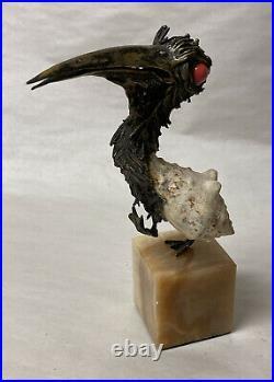 Aurelio Teno Mixed Media Sterling Silver Shell Coral Grotesque Bird Sculpture