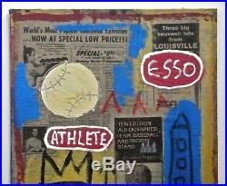 BASQUIAT - A SIGNED 1980s EXPRESSIONIST ORIGINAL MIXED MEDIA PAINTING COLLAGE