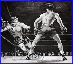 BOXING Fight ORIGINAL Illustration PULP ART Magazine Rocky Blood RAGING BULL VTG