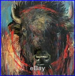 BUFFALO Wild WEST Collage Original mixed media oil Painting Antique COLLECTOR