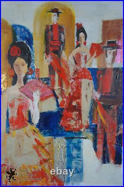 Barbara Mari Berkman 44 Mixed Media Oil Painting Flamenco Dancers Bullfighter