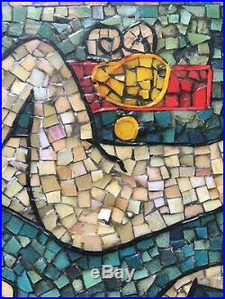 Beautiful Vintage Mosaic Artwork Picture Abstract Stylised Nude Signed