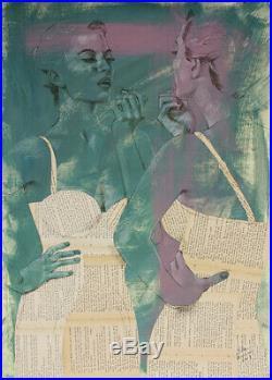 Blauhauser MIXED MEDIA 1 50x70cm Collage, Zeichnung, Gemälde Original