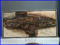 Brutalist Relief Painting St Ives Abstract Modernist Mid Century Sculptural