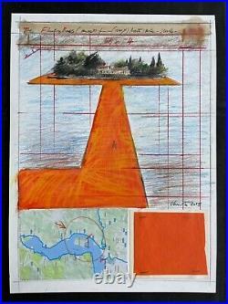 CHRISTO mixedmedia on Shoeller cardboard of 70's