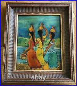 Carlos-Lopez Ruiz (1912-) LATIN WOMEN Mixed Media original painting on board