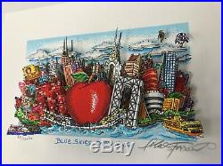 Charles Fazzino 3D Artwork Blue Skies Over New York Signed & Numbered Blue
