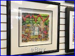 Charles Fazzino 3 D Artwork Bears A Hangin'. Bulls A Chargin Deluxe Framed
