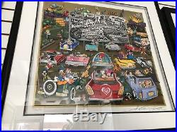 Charles Fazzino Disney At The Drive In 3-D Artwork Signed & Number Framed