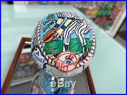 Charles Fazzino Don Mattingly 3D Hand Painted Baseball 1/1 Autograph NY Yankees