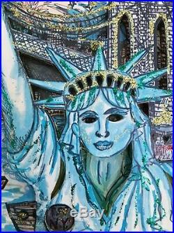 Charles Fazzino LADY LIBERTY 3-D Art Signed 193/475 NYC Skyline Twin Towers WTC