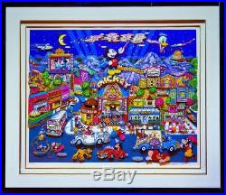 Charles Fazzino Mickeywood 3-D Lithograph Pop Art Signed, Numbered & Framed