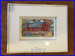 Charles Fazzino Motif #1 1995 Signed #160/250 3D Art 5x9 inches, silver framed
