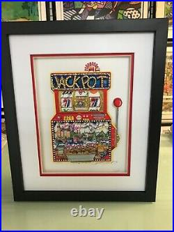 Charles Fazzino Slots of Fun 3-D Artwork Signed & Numbered Deluxe Ed Framed