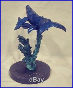 Christian Lassen Mixed-Media Bronze Sculpture Humpback Whales BORN IN PARADISE