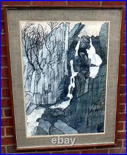 Circle of Kyffin Williams large landscape mixed media Lower Ogwen Falls signed