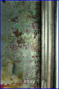 Coloured Verre Eglomise Mirror in an Antique French Silverleaf Frame Landscape /