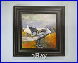 Colourful Welsh Landscape Painting of Cottages by A Hudson