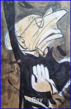 Cuban Art. Caricature by Juan David. Igor Stravinsky, ca 1962. Mixed media