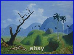 Cuban Artist Painter, Gustavo Suarez, Original Mixed Media on Canvas Landscape