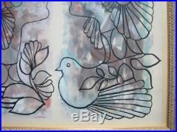 Cuban Original Rene Portocarrero Tempera Gouache Drawing Flora Coa Mixed Media