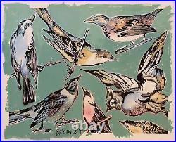 DAVID BROMLEY Birds Mixed Media on Paper 87cm x 107cm